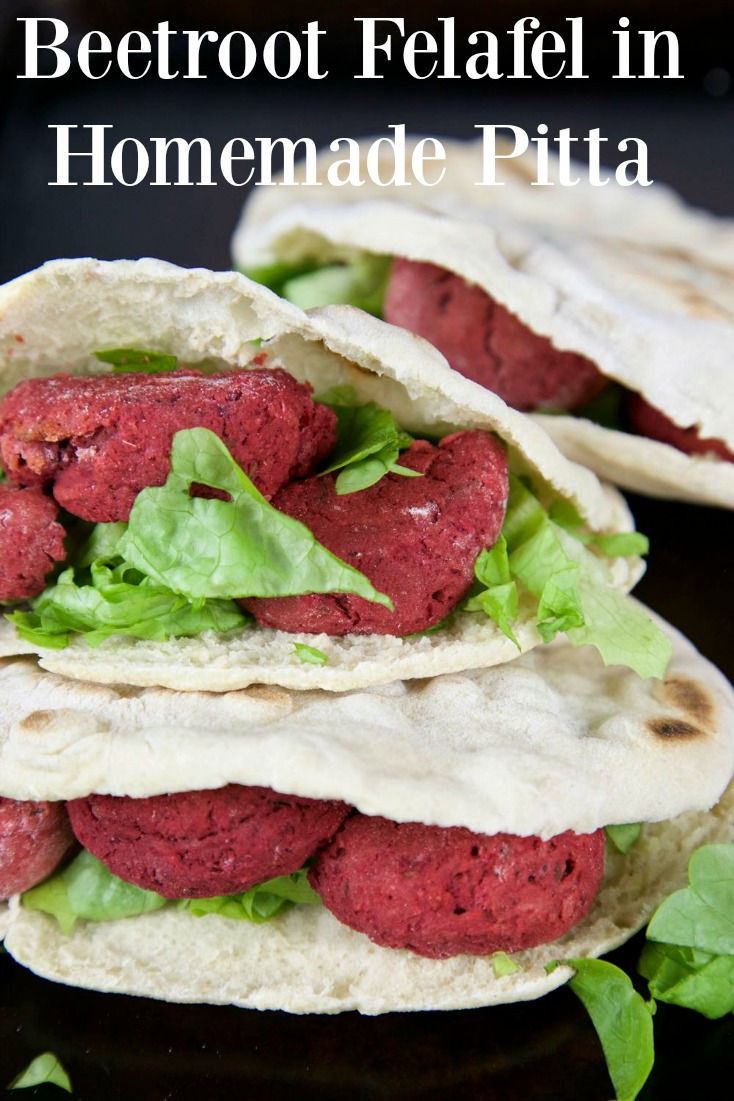 Beetroot Felafel in Homemade Pitta Pockets with a Tahini and Yogurt Dressing - all vegan!