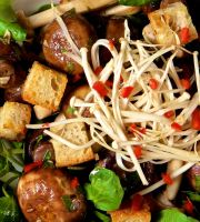 Marinated Mushrooms with Cumin Croutons and Watercress - A delicious salad of marinaded mushrooms