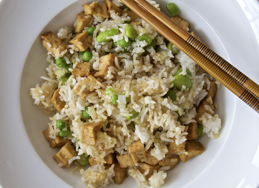 Easy Vegan Fried Rice - a super easy recipe made using ready marinated tofu pieces from Cauldron foods.