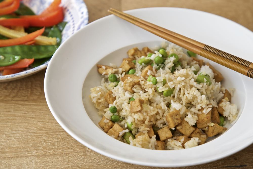 Easy Vegan Fried Rice - Easy Tofu Fried Rice with Stir friend vegetables in garlic, ginger and tamari