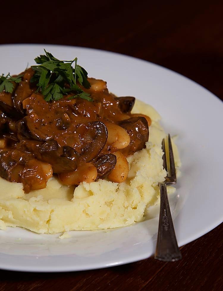 Vegan Mushroom Stroganoff served with mustard mashed potato