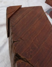 wooden patch glued on