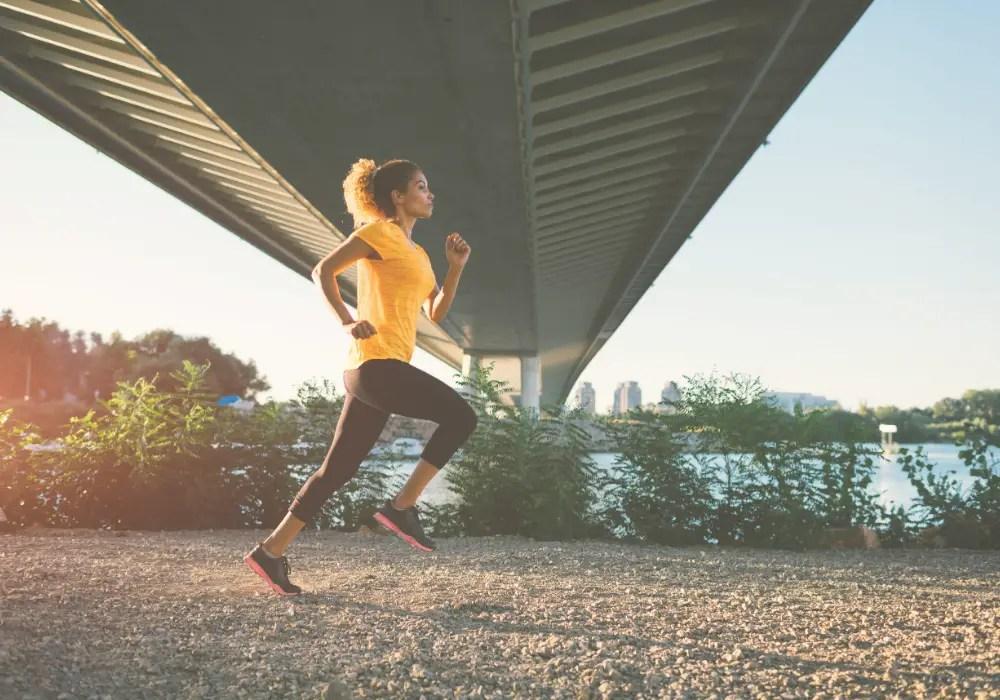 Woman running, healthy life goals.
