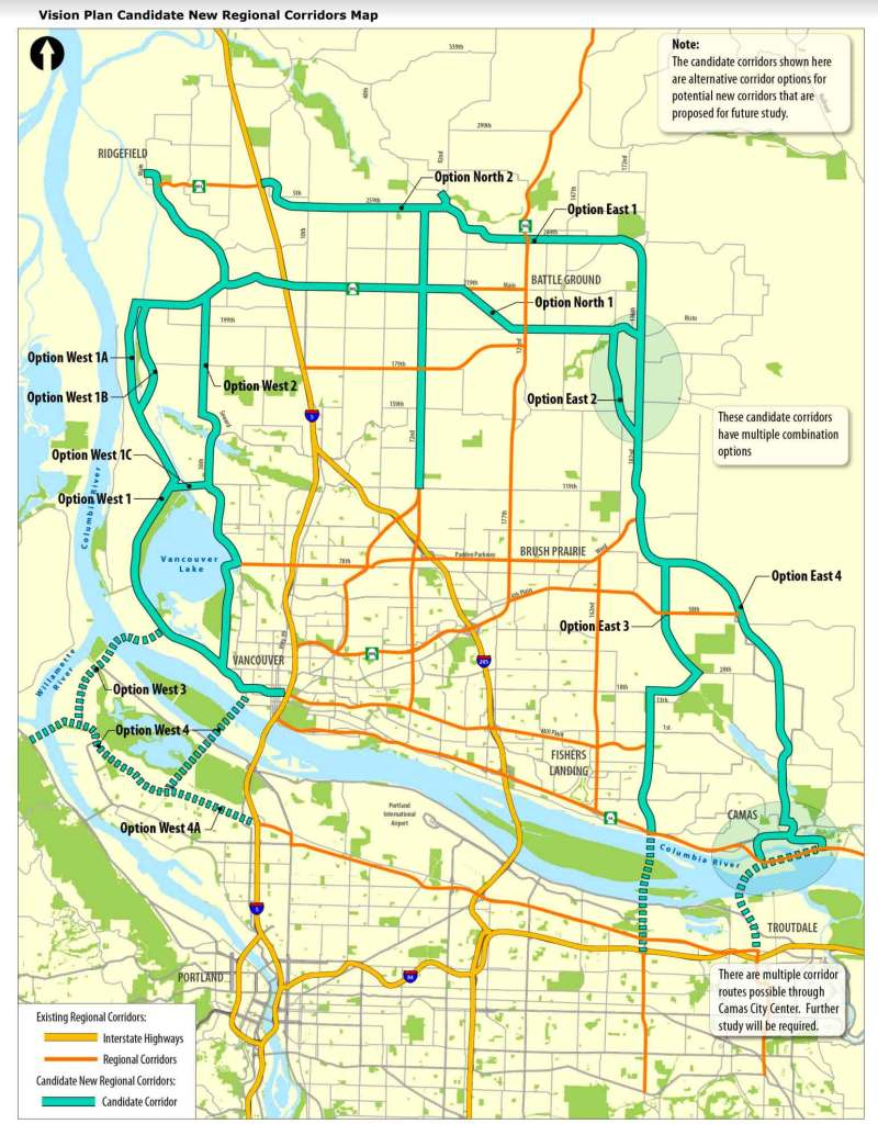 SW Washington Regional Transportation Council Visioning Corridor Map with recommendations for further study.
