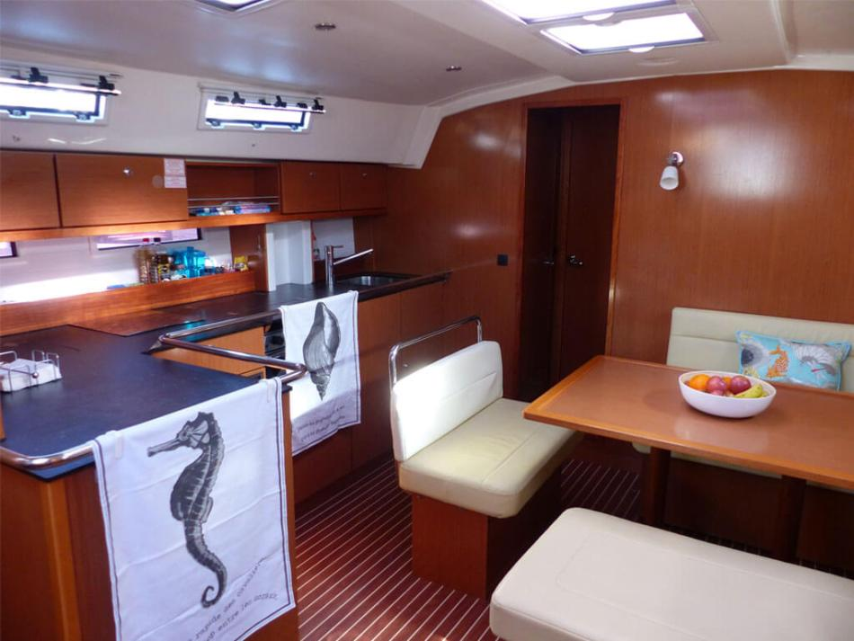 The main cabin of our Bavaria Cruiser 45