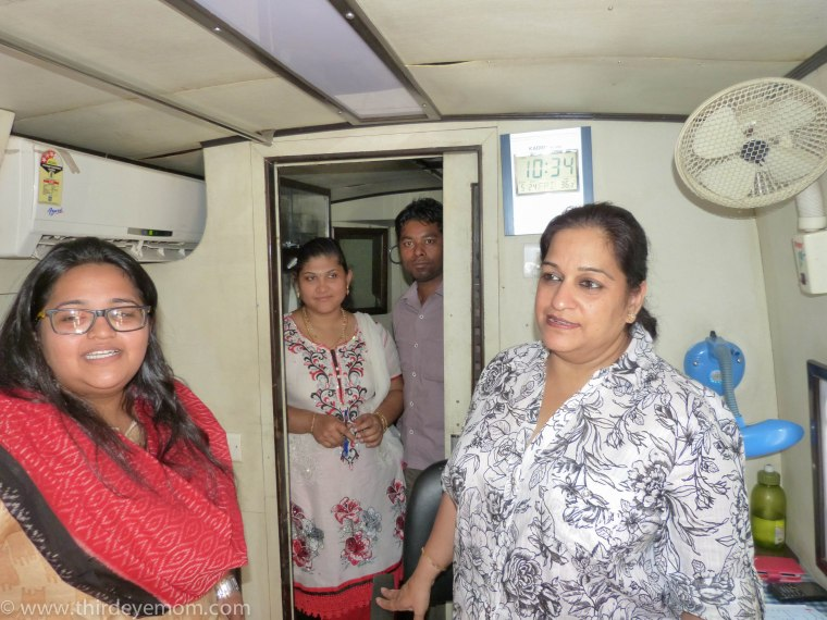 The workers inside a Mobile Health Unit