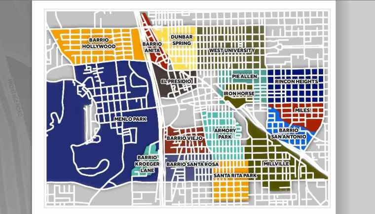 Screen Shot of Downtown Tucson's Barrios from The Downtown Tucson Partnership.