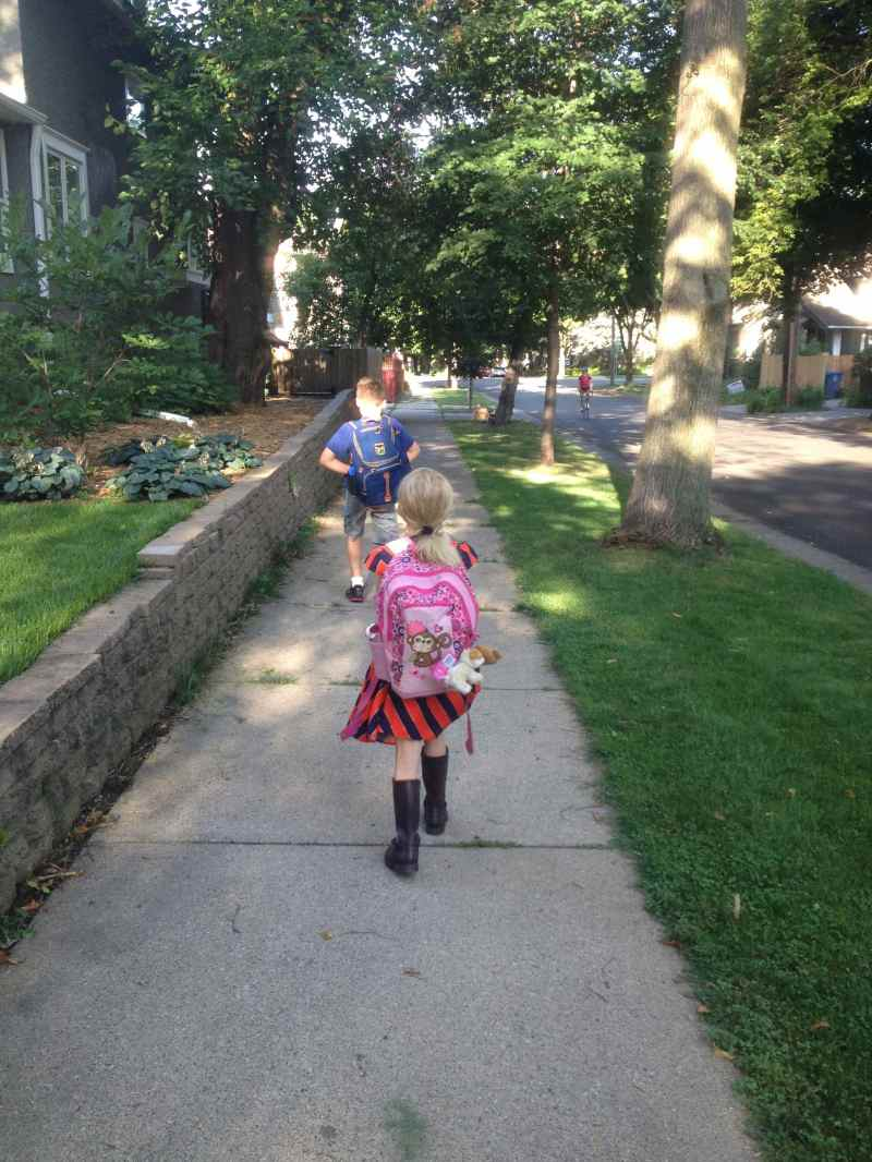 We are so lucky to live in the city and can walk to school.