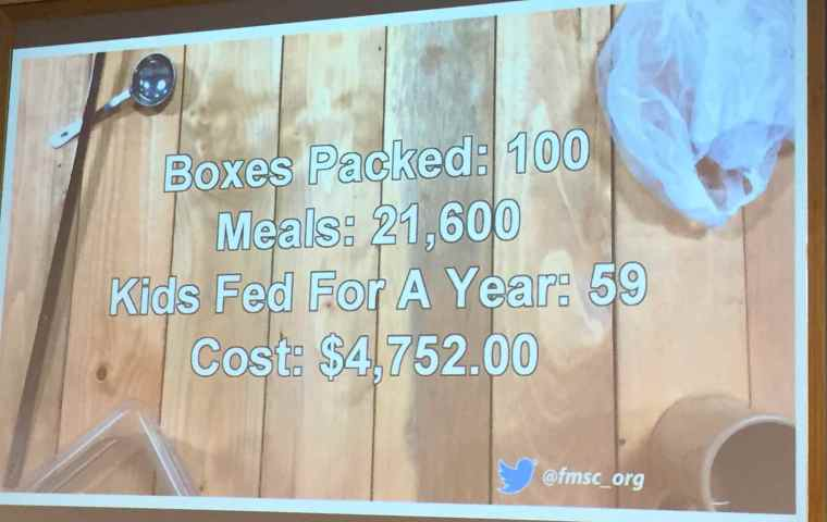 A slide showing what our 1.5 hours of volunteer packing did that day.