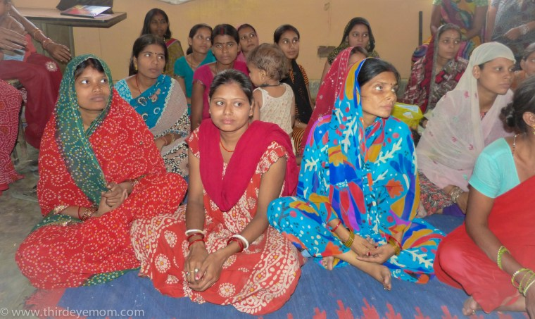 Mothers gather in India to learn about pre-natal care, a program ran by Save the Children.