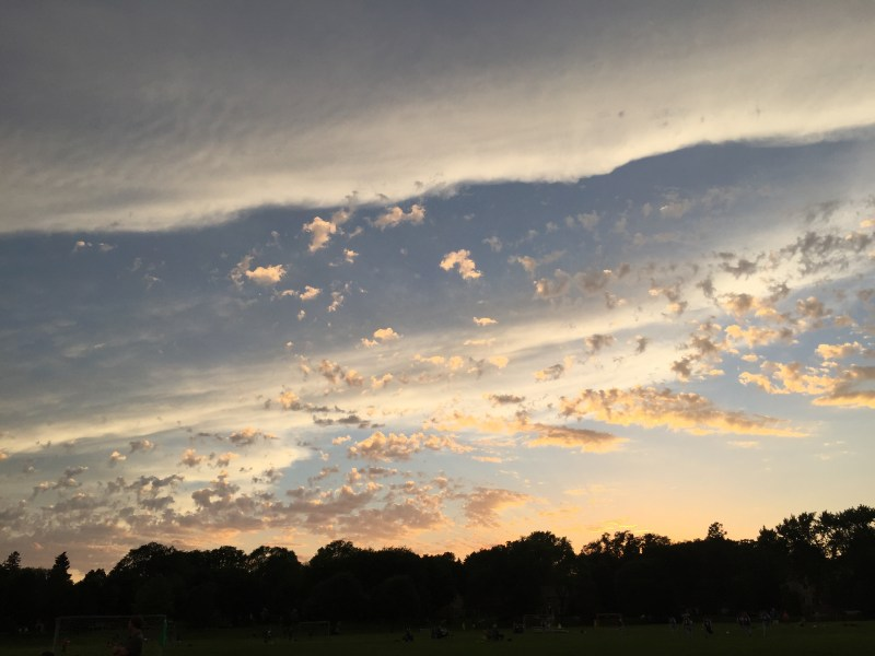 Sunset on the soccer field. Pearl Park, Minneapolis