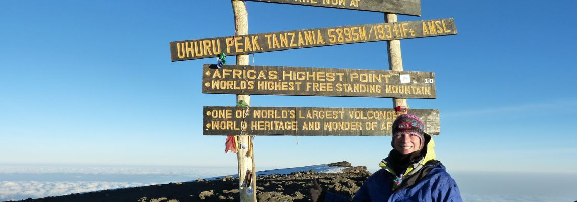On top of Uhuru Peak Mount Kilimanjaro Tanzania