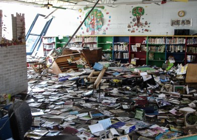 2005 Hurricane Katrina, damage to school library in Pass Christian. Photo Credit: Save the Children