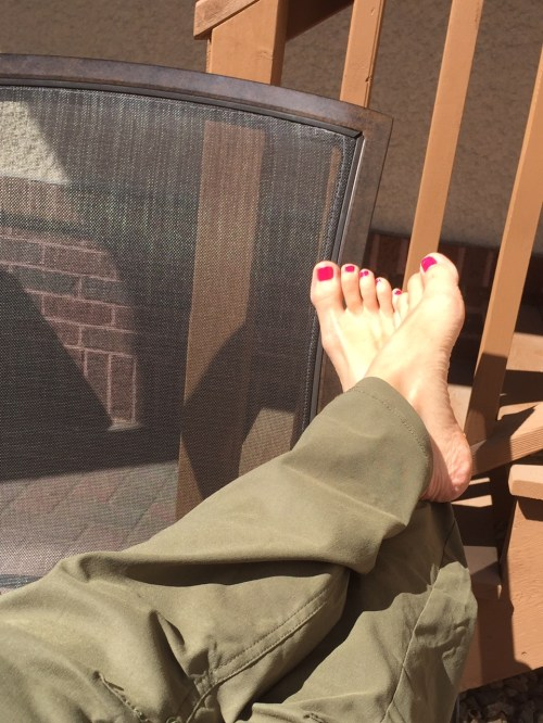 Relaxing on my deck in my PrAna pants