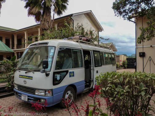 Packing up our gear and boarding the bus to Machame Gate