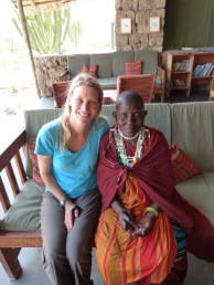 Me and Mary learning how to make Maasai jewelry that she can sell to earn a profit.