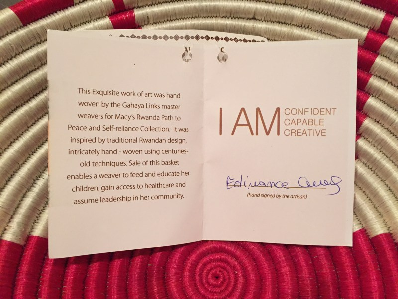 Each Macy's Path of Peace basket comes with a story.
