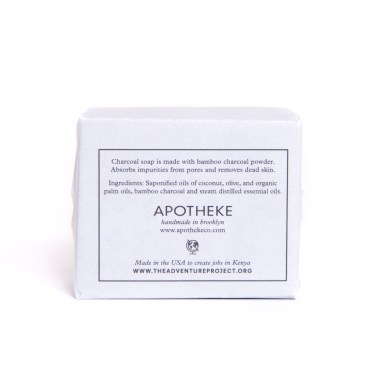 The Adventure Project & APOTHEKE's handmade 100% natural charcoal soap (back)