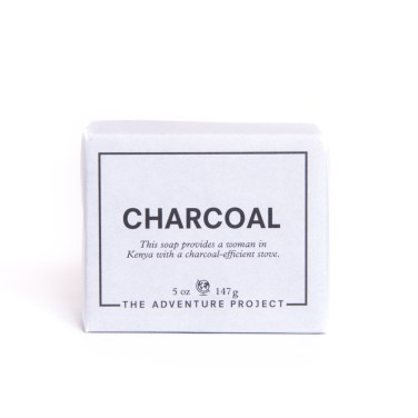 The Adventure Project & APOTHEKE's handmade 100% natural charcoal soap (front)