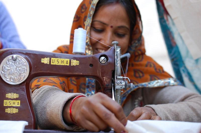 Neetu learning how to use sewing machine