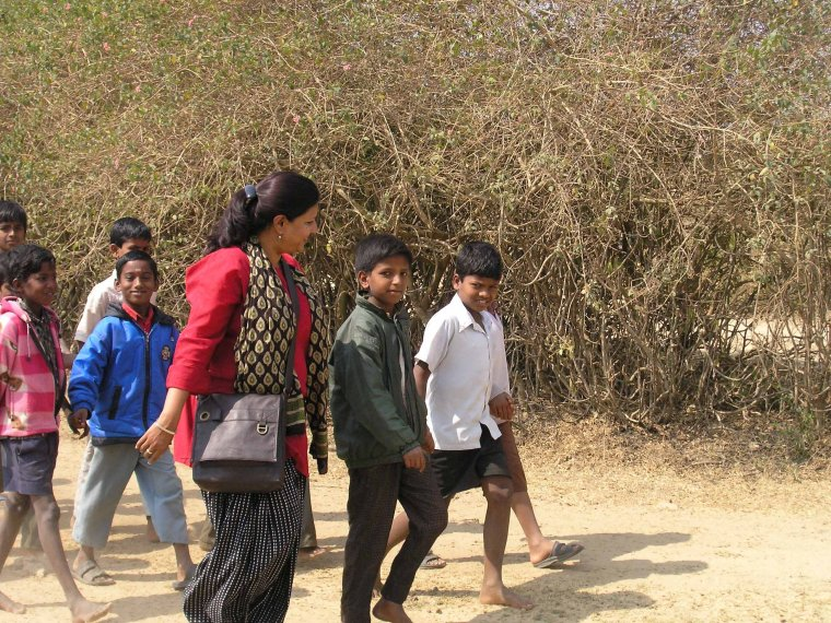 Nithila walking with the kids to the workshop venue. (Sanjay Reddy)
