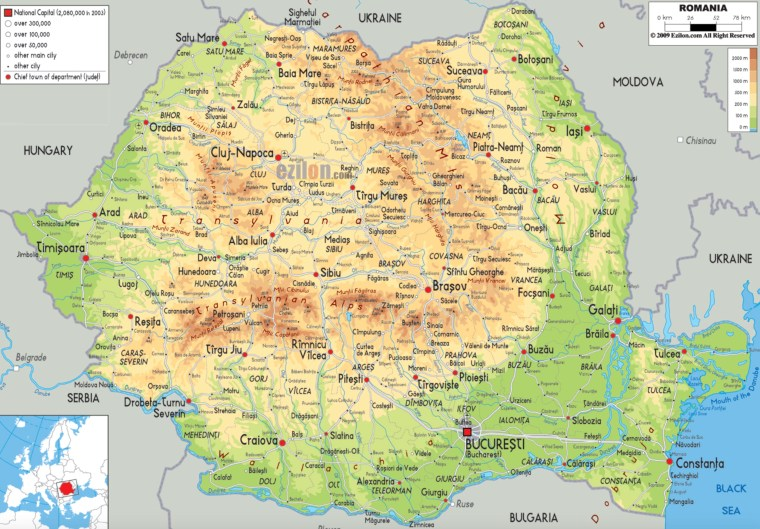The Carpathian Mountains cover the orangish-brown boomerang shape throughout the heart of Romania as seen in this map. Photo Credit: www.ezilon.com