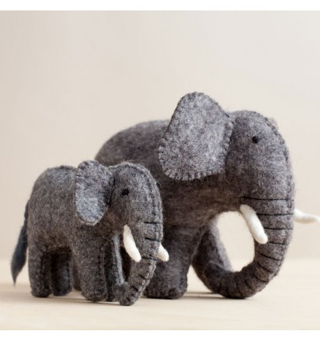 Handfelted Elephant Duo
