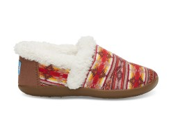 BROWN TWILL SUNSET STRIPE YOUTH HOUSE SLIPPERS