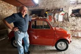 Gianni and his Fiat Cinquecento, Umbria.