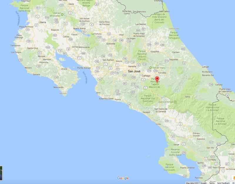 Screen Shot of Google Map of Costa Rica.