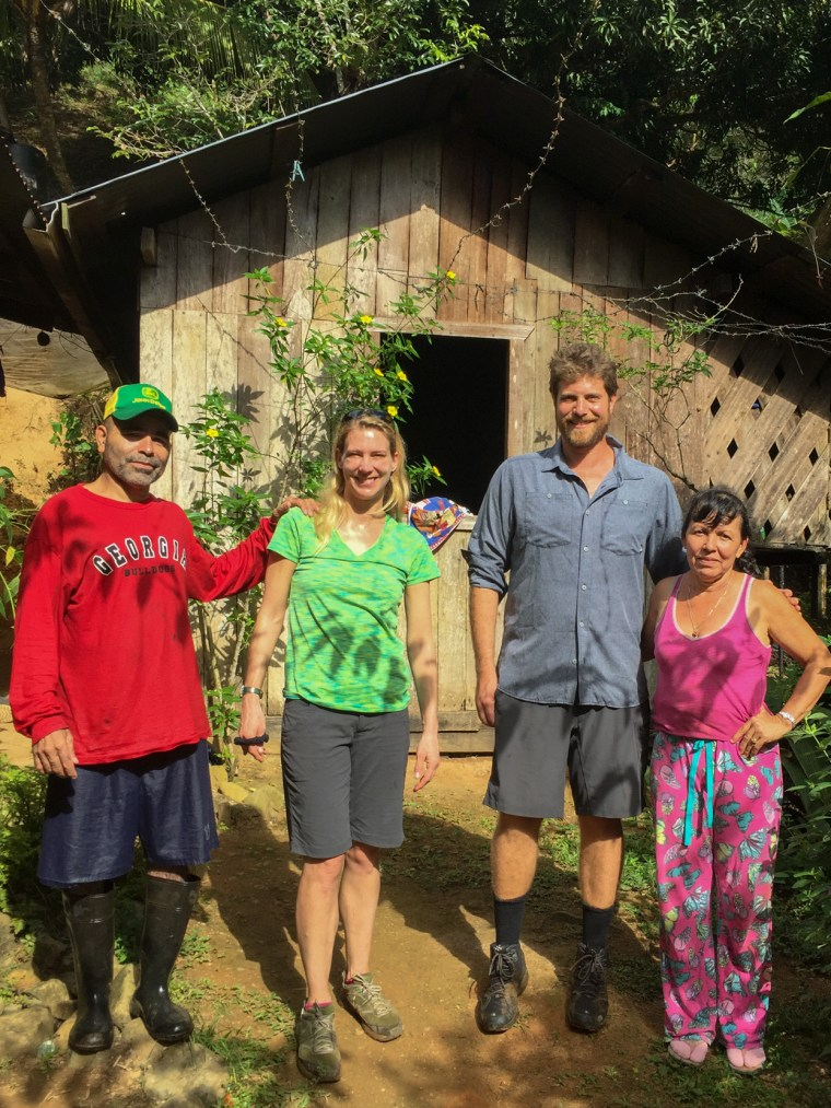Josue (the carpenter working on updating the cabin), me, Eytan and Xina.