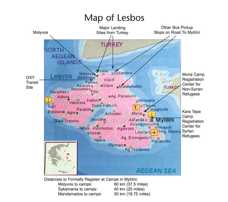 Map of Lesbos, Greece.