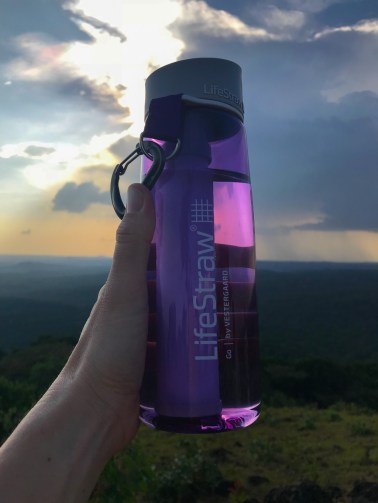 This is the consumer LifeStraw product. The straw inside allows you to drink untreated water safely.