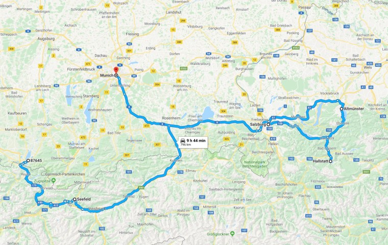 8 Days in Austria driving route