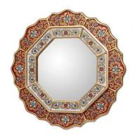 Novice Red Star Collectible Floral Glass Wood Mirror