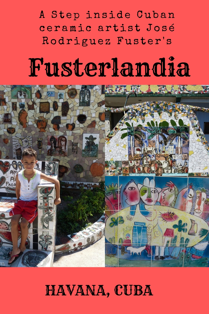 """Cuba's most celebrated ceramic artist, José Rodriguez Fuster, at his outdoor ceramic fantasyland """"Fusterlandia"""" on the outskirts of Havana. A step inside """"Fusterlandia"""" is like taking a walk inside"""