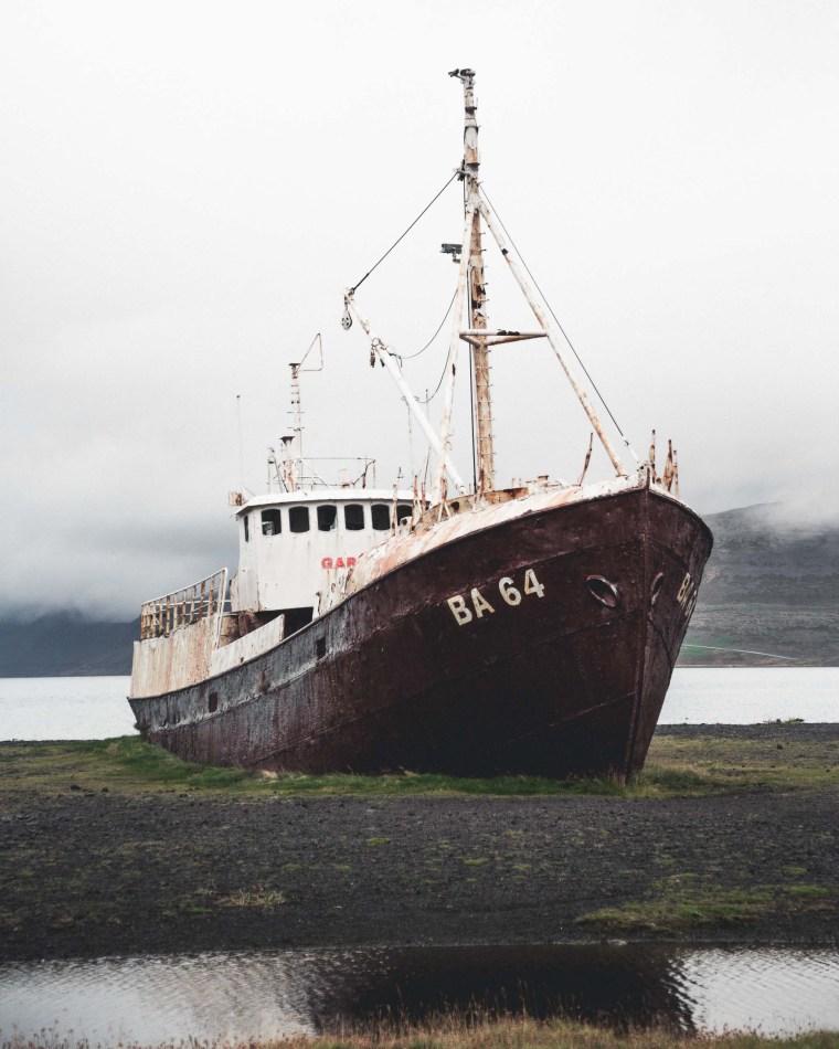 Abandoned West Fjords Ship. Photo credit: Hidden Iceland