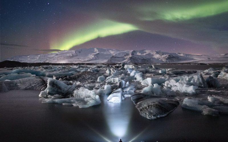 Jökulsárlón Northern Lights. Photo credit: Tom Archer