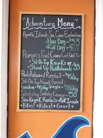 "The ""Adventure"" Menu and price list"
