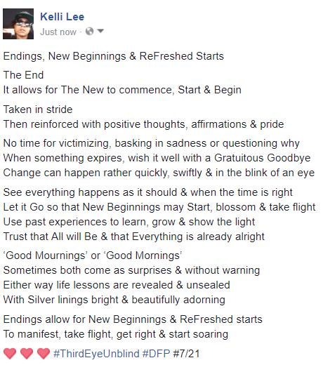 endings new beginnings & refreshed starts