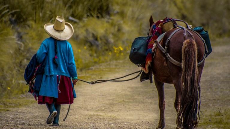 person walking a horse in cajamarca peru