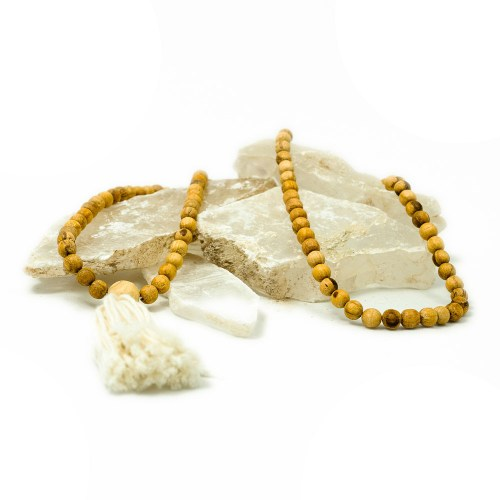 third eye wood palo santo mala with a white tassel