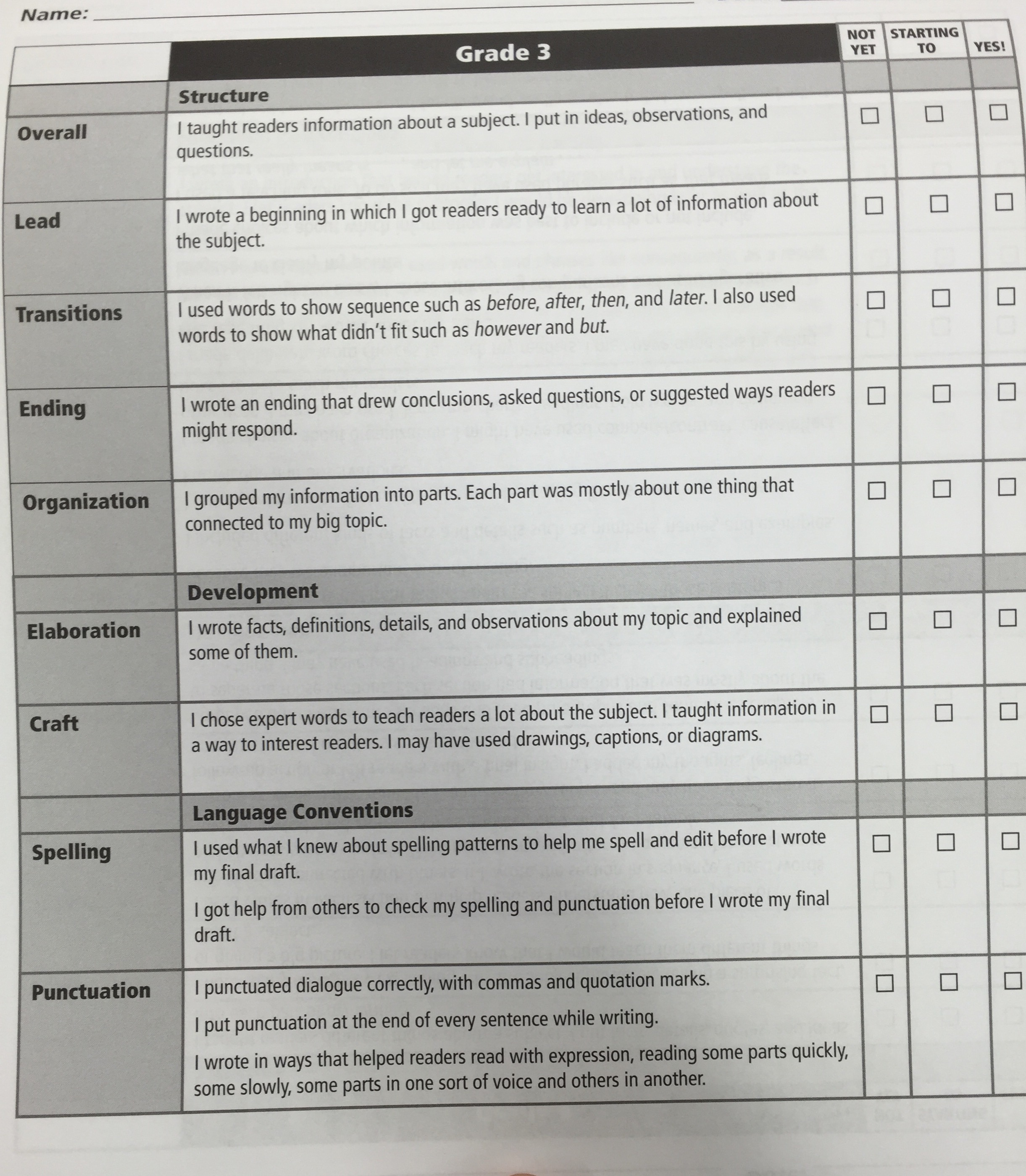 Narrative Writing Checklist Grade 2 Lucy Calkins