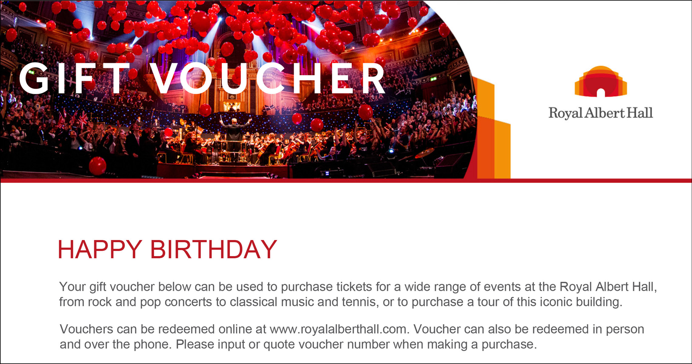 Gift Vouchers — Royal Albert Hall