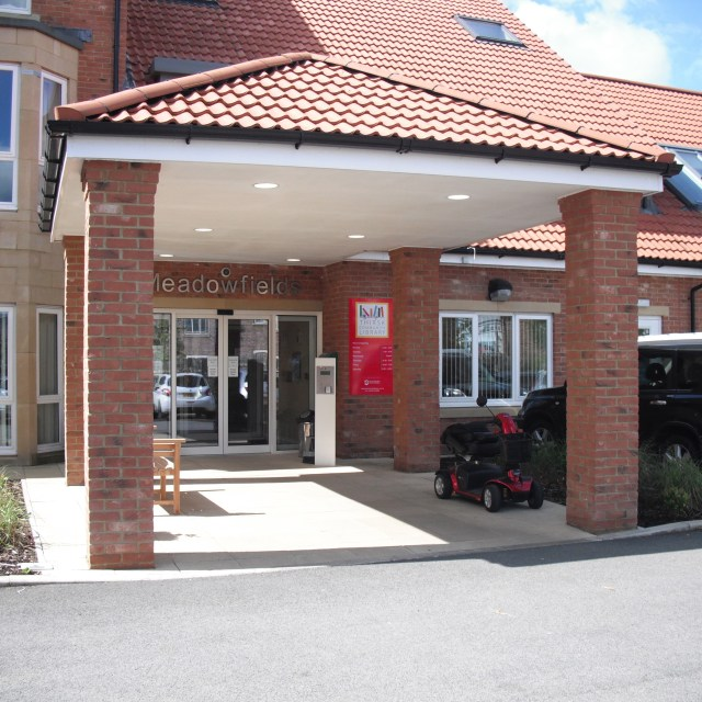 The entrance to Meadowfields and Thirsk Community Library