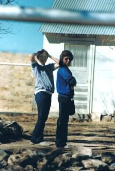 Mona Lou Roberts, Kathy Roberts in front yard