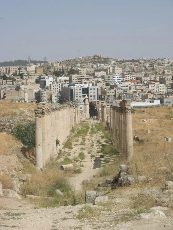 colonnaded street in Jerash