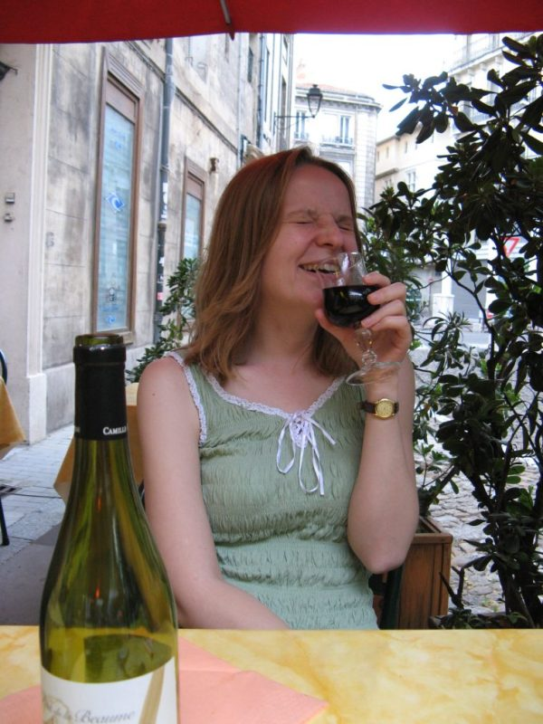 Happy in Avignon drinking wine