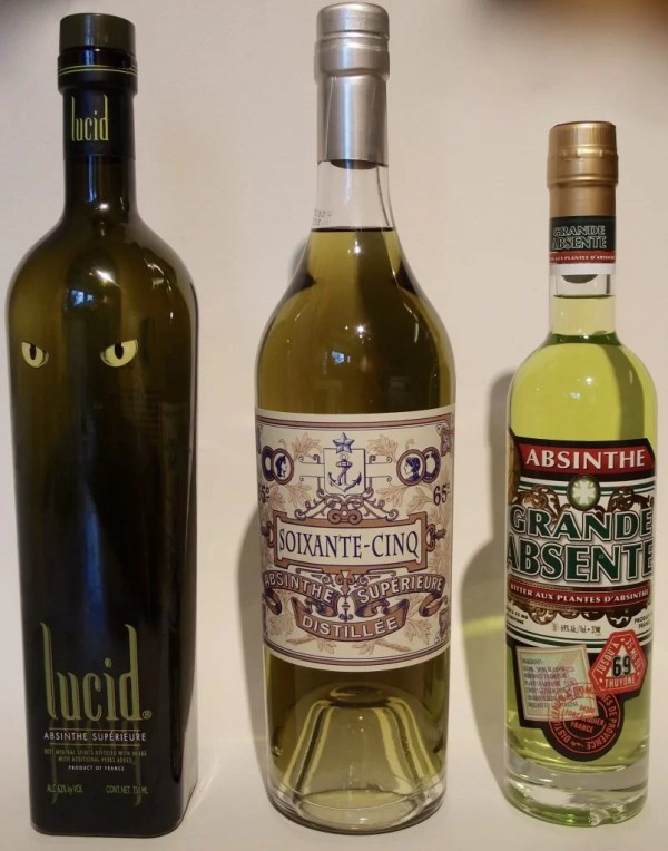 three different absinthes
