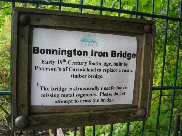 Bonnington Iron Bridge sign